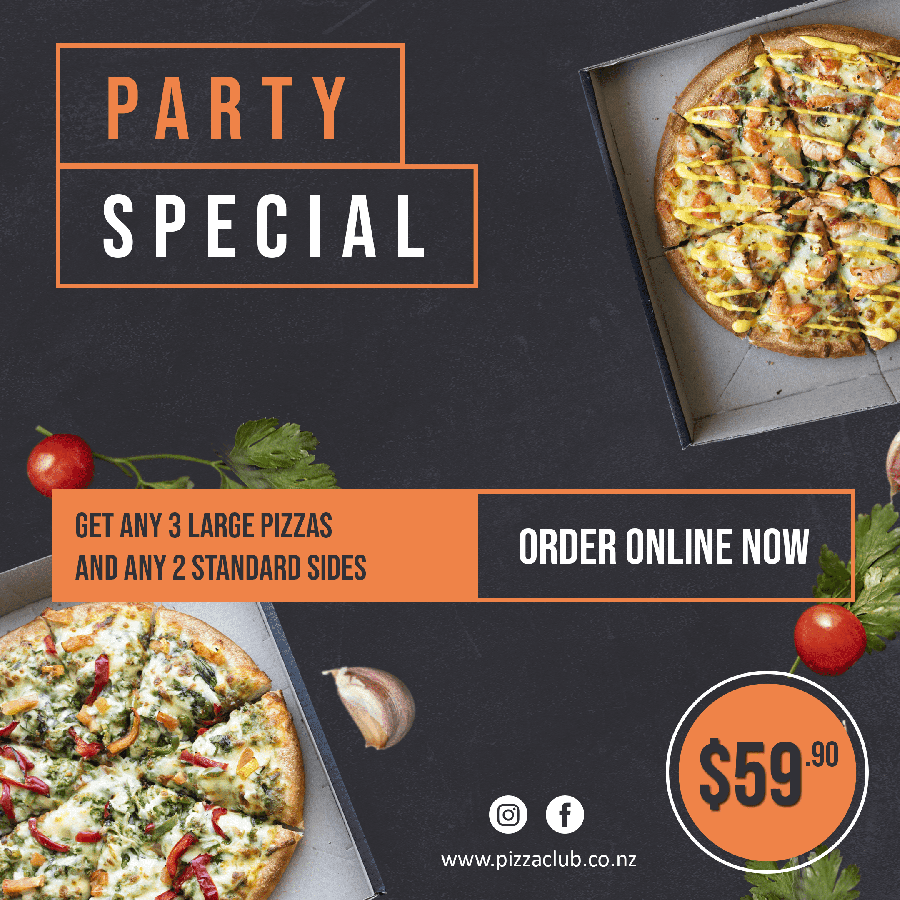 Get any 3 Large pizzas and 2 Standard sides for $59.90