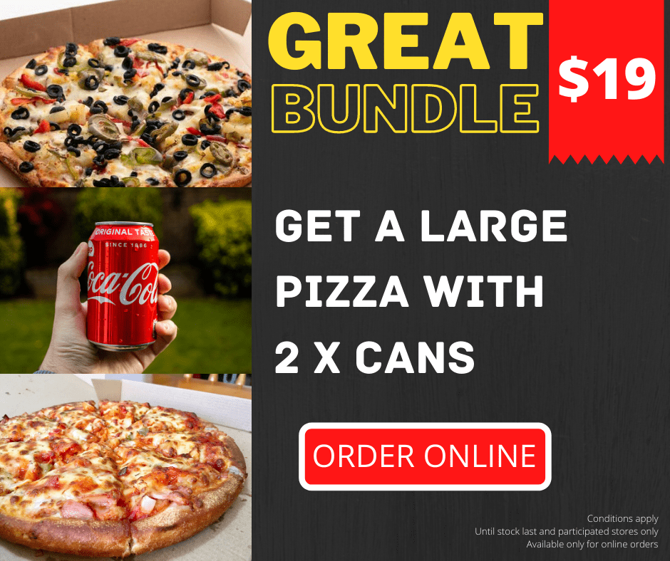 Get a Large Pizza with 2 x Cans for $20